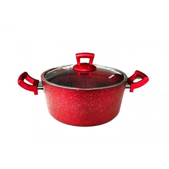 Дълбока тенджера GRANITE, 22 см, червена, Hascevher Турция