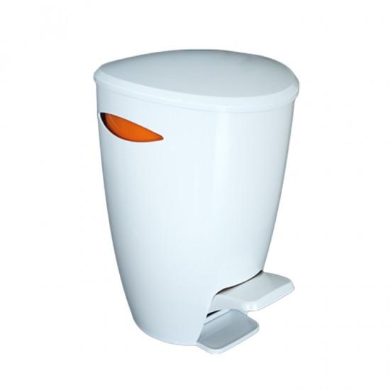 Кош за отпадъци FELY с педал в бяло и оранжево, PRIMANOVA Турция