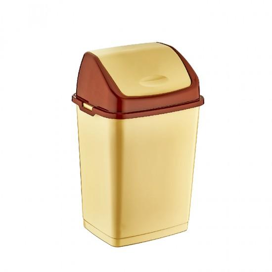 Кош за отпадъци FANTASY с люлеещ се капак, 10 литра, бежов, DUNYA Турция