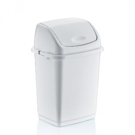 Кош за отпадъци FANTASY с люлеещ се капак, 10 литра, бял, DUNYA Турция