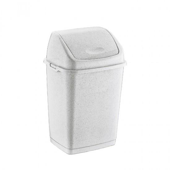 Кош за отпадъци FANTASY с люлеещ се капак, 10 литра, мрамор, DUNYA Турция