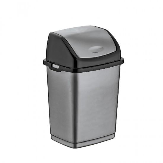 Кош за отпадъци FANTASY с люлеещ се капак, 10 литра, сив, DUNYA Турция