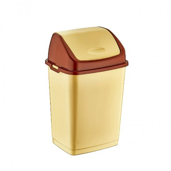 Кош за отпадъци FANTASY с люлеещ се капак, 35 литра, бежов, DUNYA Турция