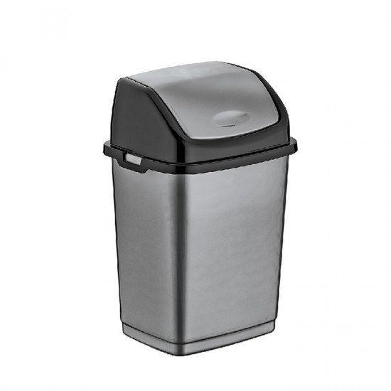 Кош за отпадъци FANTASY с люлеещ се капак, 50 литра, сив, DUNYA Турция