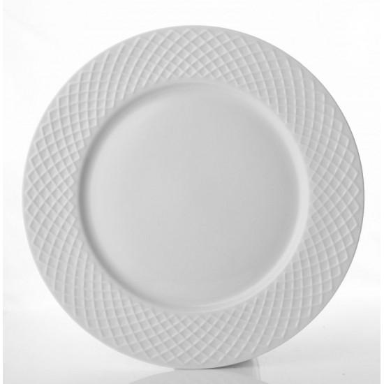 Бели порцеланови чинии Атина, порционни, 6 бр. 27 см