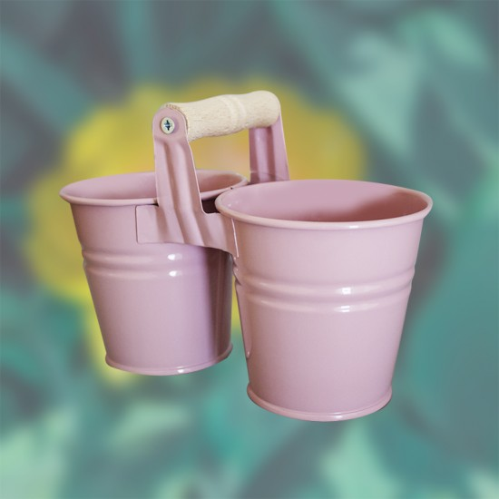 Двойка кофички с дървена дръжка, 10 см, розови, FERONYA
