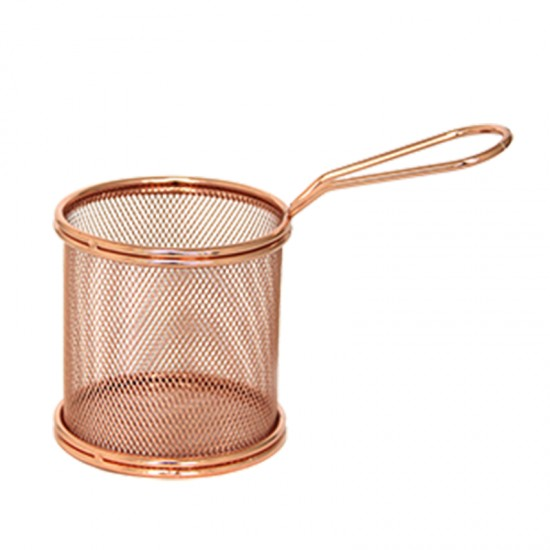 Кошничка за сервиране, кръгла, 9 х 9 см, мед