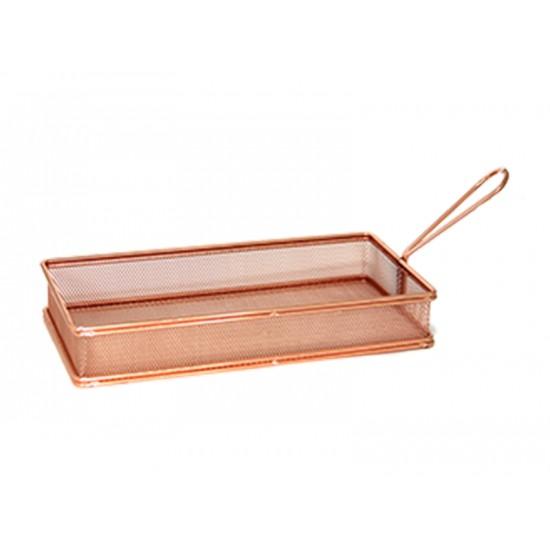 Кошничка за сервиране, правоъгълна 26 х 13 см, мед