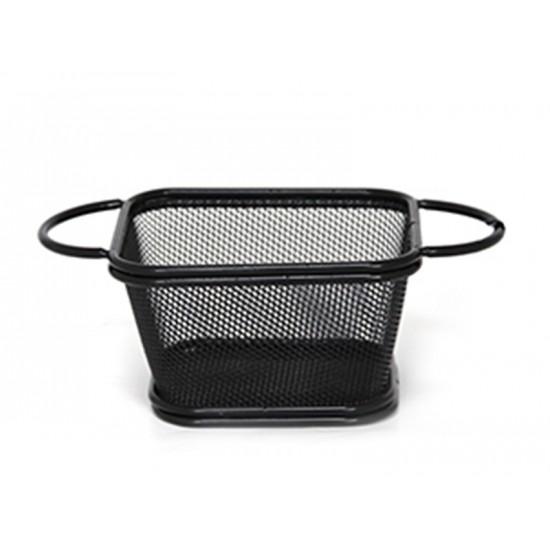 Кошничка за сервиране с 2 дръжки, 10,5 х 9 см, черна