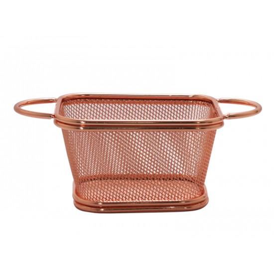 Кошничка за сервиране с 2 дръжки, 10,5 х 9 см, мед