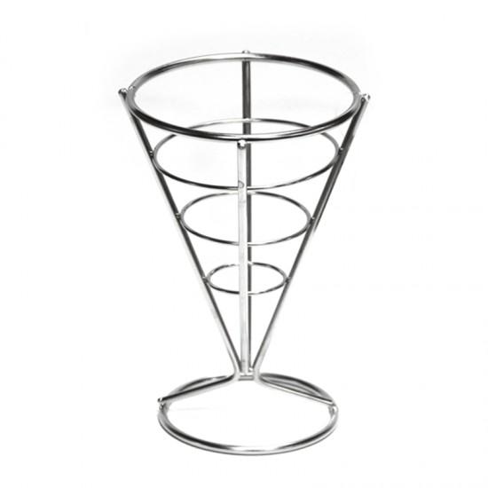 Конусовидна стойка за сервиране на чипс, 15 х 10 см, хром