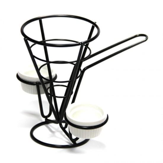 Конусовидна стойка за сервиране с 2 купички за сос, 15 х 10 см, черна