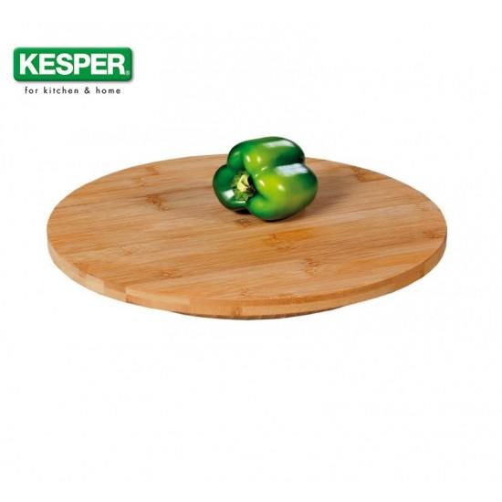 Въртяща се кръгла дъска за сервиране от бамбук 35 см, KESPER Германия