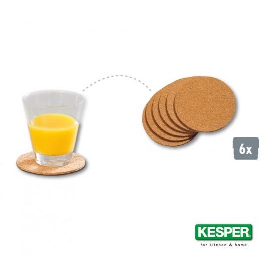 Коркови подложки за чаша, комплект от 6 бр. 10 см, KESPER Германия