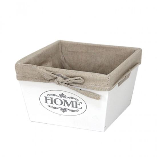 Дървена кутия за съхранение, 17 х 17 см, бяла