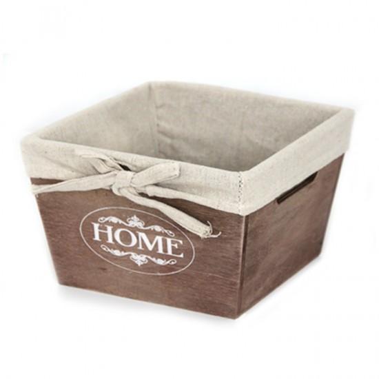 Дървена кутия за съхранение, 19 х 19 см, кафява