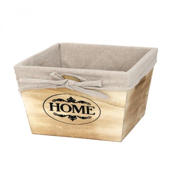 Дървена кутия за съхранение, 19 х 19 см, натурал