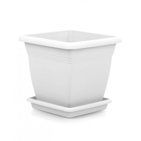 Квадратна пластмасова саксия VILLA 40 см, бяла