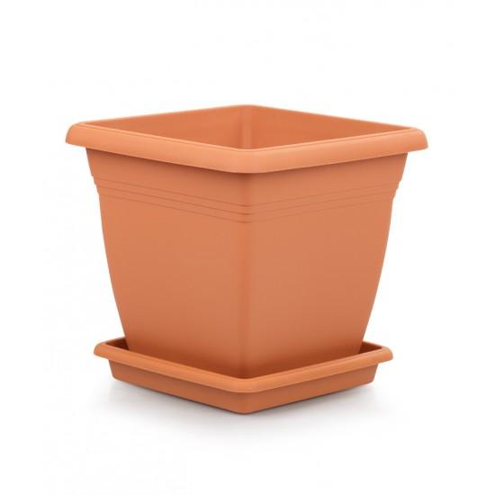 Квадратна пластмасова саксия VILLA 50 см, цвят керамика