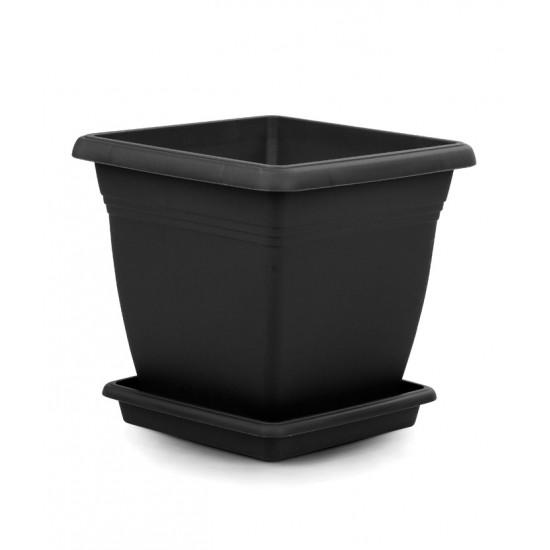 Квадратна пластмасова саксия VILLA 50 см, антрацит