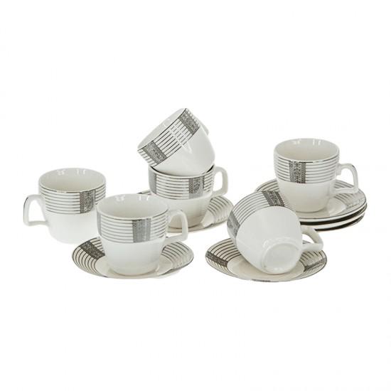 Керамични чаши за кафе SILVER, сервиз 12 части
