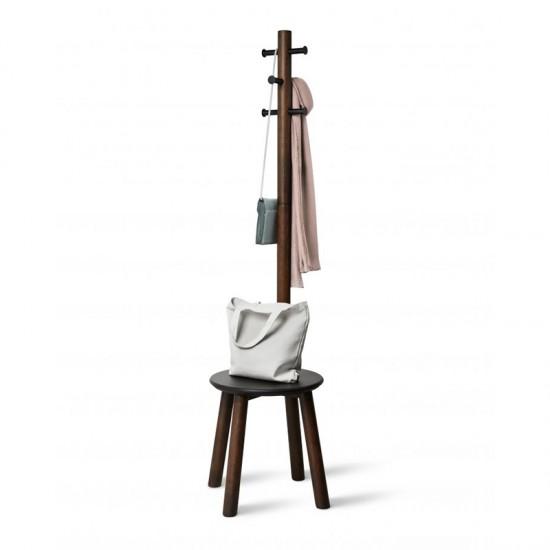 Закачалка със столче PILLAR STOOL, орех, UMBRA Канада