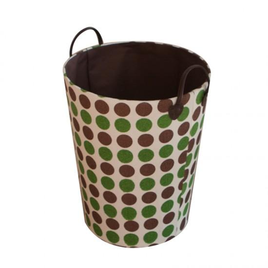 Кош за дрехи в кафяво и зелено, кръгъл