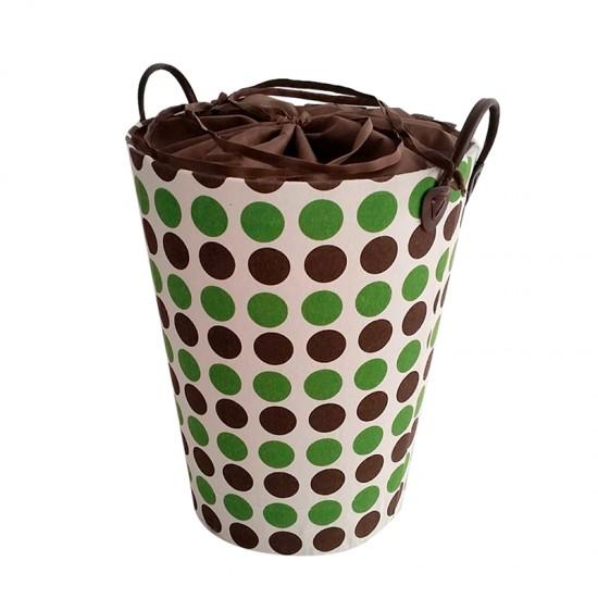 Кош за дрехи в кафяво и зелено с покривало, кръгъл