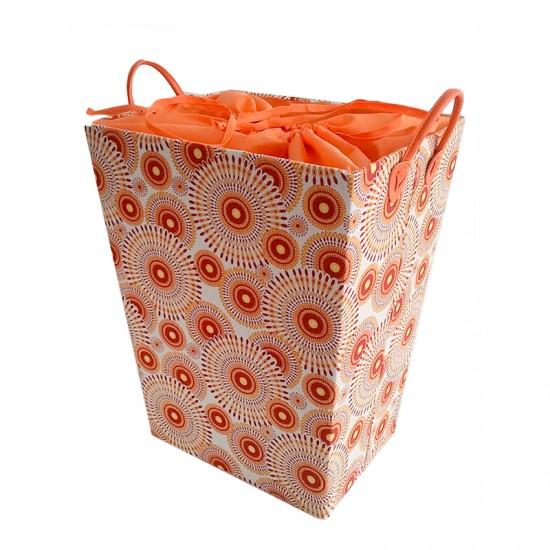 Кош за дрехи в червено и оранжево, правоъгълен