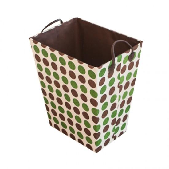 Кош за дрехи в кафяво и зелено, правоъгълен