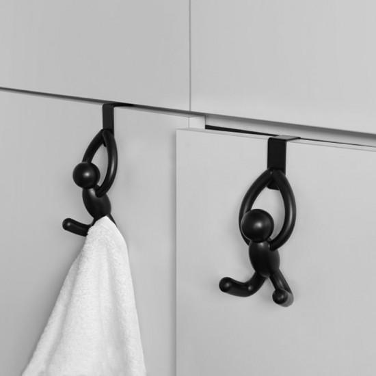 Закачалки за врата на шкаф BUDDY, 2 броя, черни, UMBRA Канада