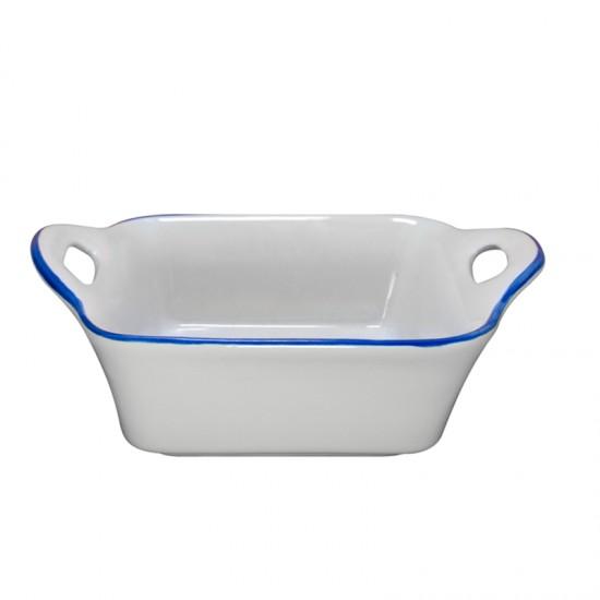 Квадратна керамична купичка за печене, 12,7 х 6,2 см, бяла