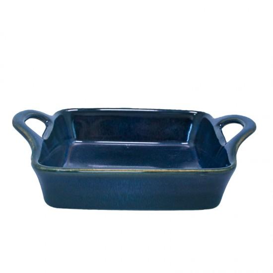 Квадратна керамична тавичка за печене, 18,8 х 6,5 см, синя