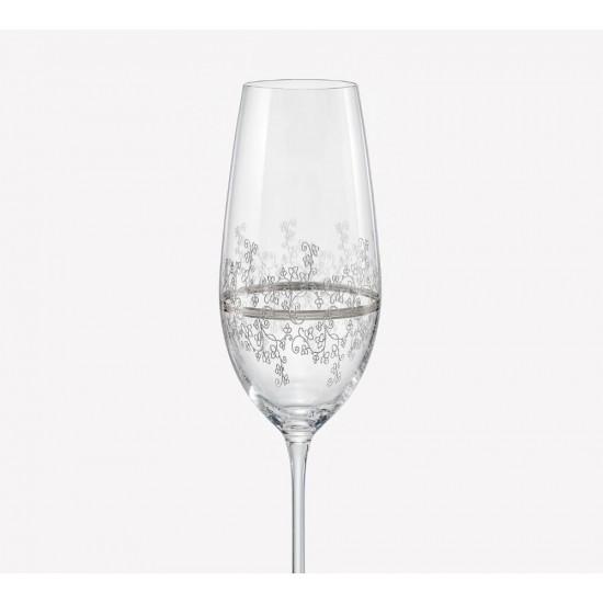 Гравирани чаши за шампанско Viola Platinum 190 мл, CRYSTALEX BOHEMIA, Чехия