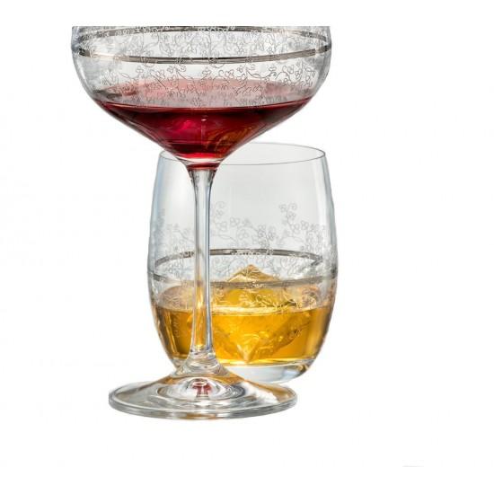 Гравирани чаши за уиски Viola Platinum 300 мл, CRYSTALEX BOHEMIA, Чехия