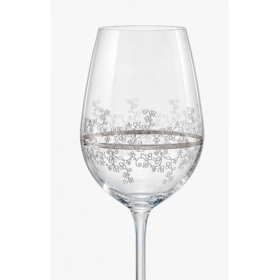 Гравирани чаши за бяло вино Viola Platinum 350 мл, CRYSTALEX BOHEMIA, Чехия