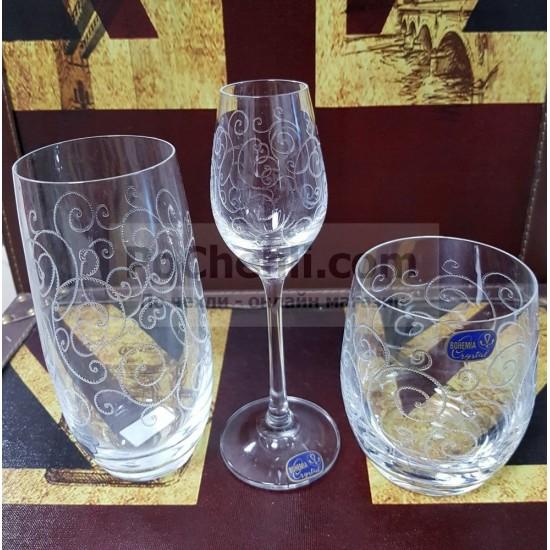 Гравирани чаши за ракия Viola 60 мл, CRYSTALEX BOHEMIA, Чехия