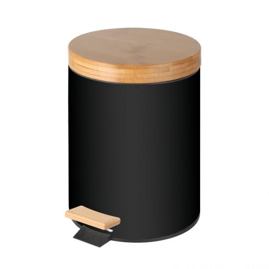 Кош за отпадъци BAMBOO с бамбуков капак и педал, 5 литра, черен