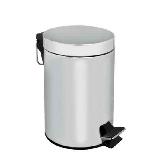 Кош за отпадъци с педал, 5 литра, хром