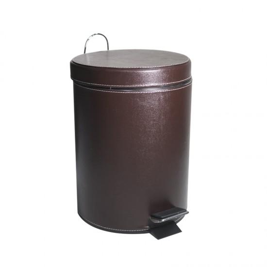 Кош за отпадъци с педал и кожена облицовка, 5 литра