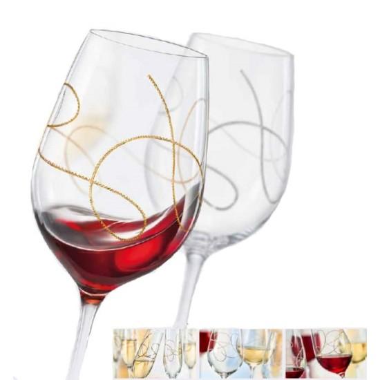 Гравирани чаши за вино STRING GOLD, 350 мл., 2 броя, BOHEMIA