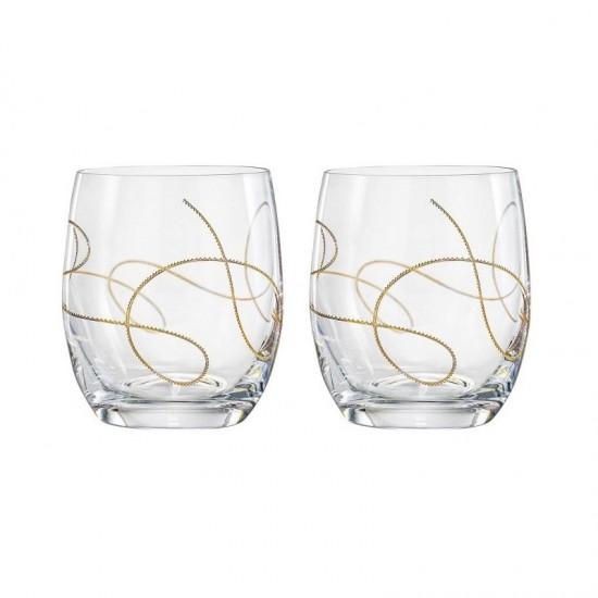 Гравирани чаши за уиски STRING GOLD, 350 мл., 2 броя, BOHEMIA