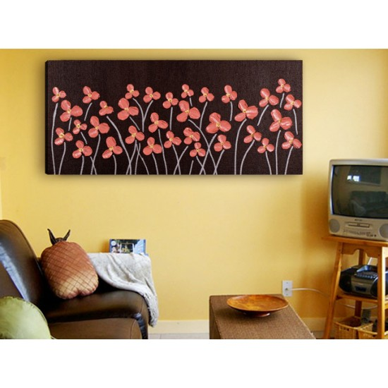 """Картина пано """"Червени цветя"""", 100 * 50 см"""