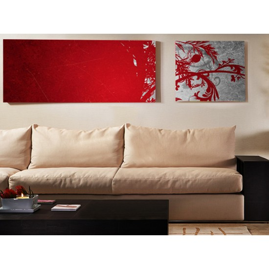 "Картина пано ""Червено и сиво"", 90 * 40 см, 40 * 40 см"