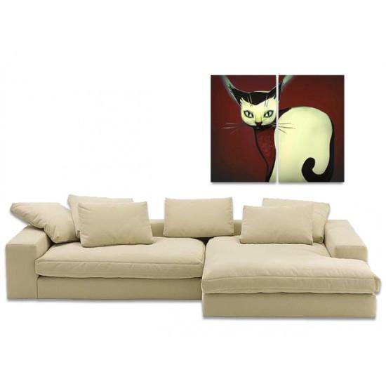 """Картина пано """"Коте"""", кафяв фон 85 * 70 см"""