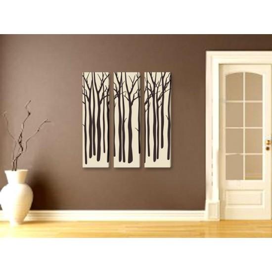 """Картина пано """"Зимни дървета"""", 3 бр. 25 * 100 см"""