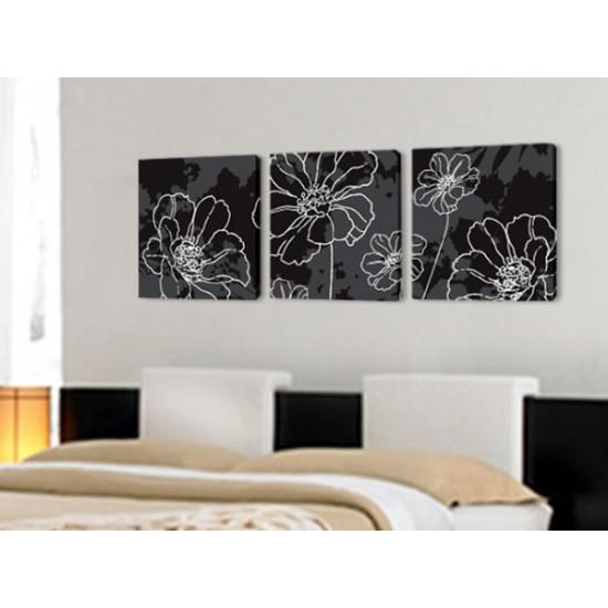 """Картина пано """"Цветя в бяло"""", 3 бр. 40 * 40 см"""