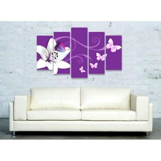 """Картина пано """"Лилия в лилаво"""", 100 * 70 см"""