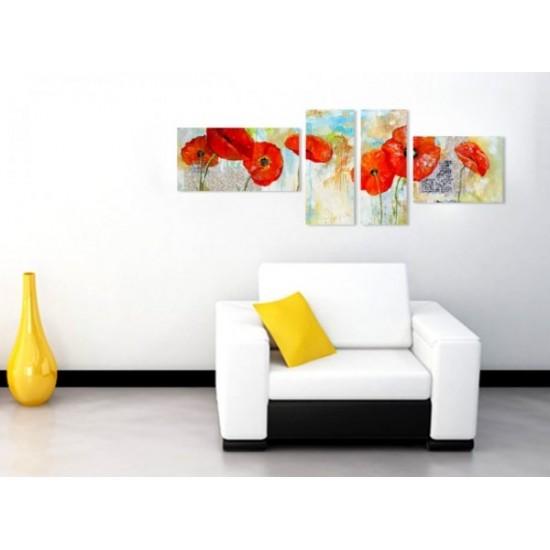"""Картина пано """"Рисувани макове"""", 140 * 50 см"""