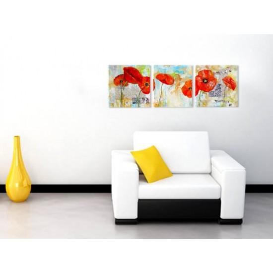 "Картина пано ""Рисувани макове"", 3 бр. 40 * 40 см"